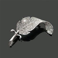 asian vehicle - New Loved Fashion vehicle parts accessories clothes sweater delicate crystal brooches Silver Simple colored feather brooch form