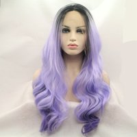 beauty wave purple - Strong Beauty Synthetic Hair Long Wavy Purple Lace Front Wigs High Quality Full Wigs For Sexy Black Woman