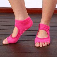 Wholesale Hot Sale Women Professional Yoga Socks Ladies Sports Massage Open Toe Fitness Non Slip Socks Durable Pilates Socks MD0018