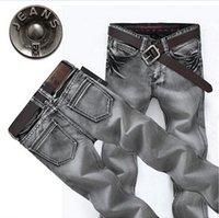 Wholesale Four seasons fashion jeans Mens Retro grey straight slim genuine jeans men trousers retro tide size