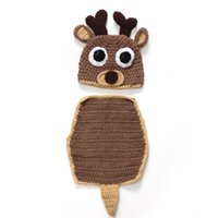 baseball photo props - Baby Crochet Cute Deer Horn hat pc set baseball hat pc set Costume handmade clothes for Newborns photo props festivals Christmas gift