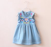 Wholesale 2016 New Baby Girls Denim Dresses Kids Embroidered Floral Princess Dress Flower Preppy Style Dress Newborn Children Toddler Tank Sundress