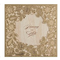 Wholesale 100pcs New Arrival Gold Flowers Wedding Invitations Cards Laser Cut invitation Card for Birthday Party CW5279