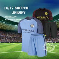 Wholesale Manchester City Cheap Soccer Jersey Men Home Blue Away Black KUN AGUERO SANE GUNDOGAN etc football Kit