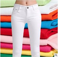 Wholesale Newest Cancy Color Lady Jeans Elastic Skinny Fitness Lady Hip Push Up Pencil Pants Cotton Pants Sping Autumn