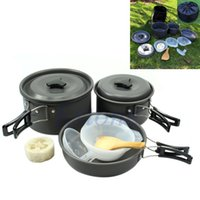 Wholesale Portable Outdoor Camping Cookware Backpacking Cooking Picnic Bowl Pot Pan Set