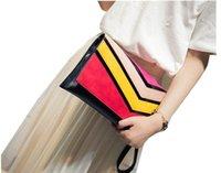 beach envelopes - Fashion Clutch Bag Hit Color Stitching PU Women s Handbags Beach Bag