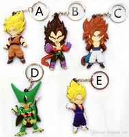 Wholesale Fashion Dragon Ball Z PVC Action Figure Key Rings Goku Vegeta Raditz Cell Super Saiya Keychains Dragonball Toys Key Chains
