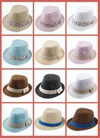 Unisex Spring / Autumn Crochet Hats 10%off Kids Straw Fedora Hat Baby Summer Straw lace Broken beautiful side Hat Boys Girls Jazz cap Straw Fedoras Baby Strawhat 100pcs lot