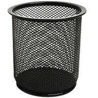 Wholesale Office Desk Candy Color Round Shaped Steel Mesh Pencil Pen Cup Holder Container