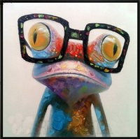 abstract squares - Frog with glasses High Quality genuine Hand Painted Wall Decor Cartoon Animal Art Oil Painting On Canvas