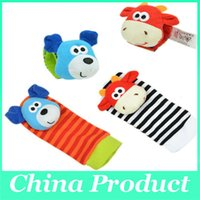 Wholesale Sozzy Baby Toys Animal Socks Wrist Strap Rattle With Foot Socks set waist socks