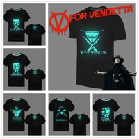 american hot film - HOT Noctilucence American V for Vendetta science fiction film Men T Shirt Fluorescent T Shirt Tees Tops Plus size Luminous