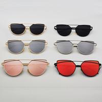 beam mix - Flat Lense Women Cat Eye Sunglasses Classic Brand Designer Twin Beams Rose Gold Frame Sun Glasses for Women Eyewear