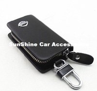 Wholesale SunShine Genuine Leather Car Key Chain Coin Holder Bag Zipper Case Cover Remote Wallet Bag for Nissan X trail Qashqai Tiida Teana Sylphy Bl