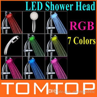 Wholesale 50pc RGB Color Changing LED Shower Head Sprinkler Automatic Control Freeshipping Dropshipping Z00461