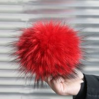 attached hat scarf - 15cm Real Raccoon Fur Pompoms luxurious fur balls Genuine Fur Pom Pom for Bag Hats Cap Scarf Gloves Attached the Hasp