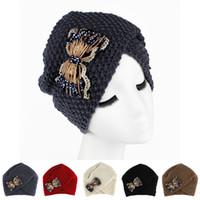 beaded beanie - Luxury Divas Winter Knit Women Turban with Lace Beaded Bowknot Beanie Hat Twist Hijab Turbante