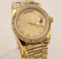 daydate - Luxury Gold Stainless Steel Diamond Watch President DayDate Black Dial Men Mens Automatic Movement Mechanical Wristwatch Box Paper