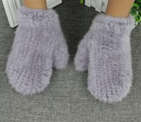 Wholesale Brand New Luxury Fashion Women s Winter Genuine Mink Fur Knitted Gloves Mittens Elastic Black Grey White