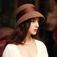 Wholesale 2016 New Autumn And Winter Wool Vintage Hat Women Elegant Camel Bow Hat