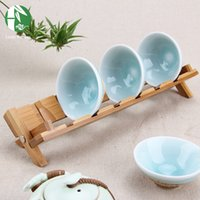 Wholesale Bamboo storage rack Style tea cup holders kitchen dish plate shelf accessories storage holders handmade folding kitchenware