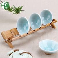 bamboo plate rack - Bamboo storage rack Style tea cup holders kitchen dish plate shelf accessories storage holders handmade folding kitchenware