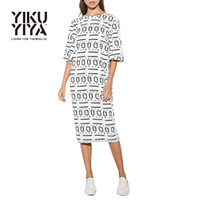 abstract dress designs - YIKUYIYA New Fashion Summer Dress Women Clothes Abstract Design Print Sexy Backless Loose Half Sleeve Slim Mid Calf Dresses