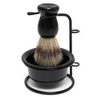 Shaving Brush badger shave brushes - New Arrival Promotion Price Black Badger Hair Brush Stainless Steel Shaving Razor Stand Plastic Bowl Mug Set