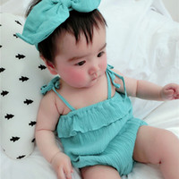 Wholesale 1 Years Princess Baby Romper Girl Boys Clothes Set Short Romper Headband Suits Infant Toddler Summer Girls Clothing