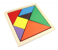 Wholesale 500Set Colorful Tangram Children Mental Development Tangram Wooden Jigsaw Puzzle Educational Toys for Kids intellectual Building Blocks