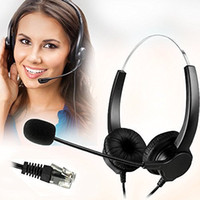 Wholesale Hands free Call Center Noise Cancelling Corded Binaural Headset Headphone with pin Rj9 Crystal Head and Mic Mircrophone for Desk Phone