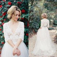 Wholesale 2016 Romantic Country Vintage Modest Lace Wedding Dresses with Half Sleeves Plunging Neckline Beading Sash Tulle A Line Bridal Gowns