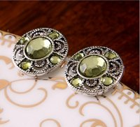 Wholesale Fashion Jewelry hot earring for women Golden Retro copper alloy Metal light green Acrylic stones Clip on Screw k Stud