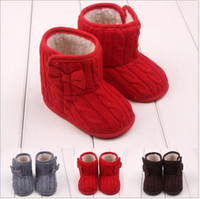 Wholesale Christmas Infant Baby Girls Snow Boots Fur Knitted Wool Thicken Warm Toddler Boy Girl First Walker Shoes Infant Boots Newborn Shoes E08