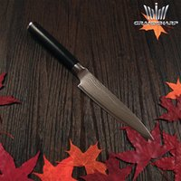 Wholesale GRANDSHARP hot sale inch Damascus steel Utility knife double forged fibre glass handle