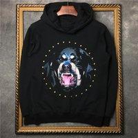 Wholesale HONO Li new fashion Diamond Rottweiler dog Print pattern Men and women Lovers Hooded Sweater