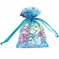 """Cheap Blue Coralline Organza Wedding Party Candy Favor Holders Gift Bag Jewelry Pouch Packaging decoration Approx.4x3"""""""