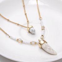 Wholesale Multi Layer Choker Statement Chain Necklace Modern Stylish Geometry Spike Turquoise Choker Necklace Fashion Jewelry For Women