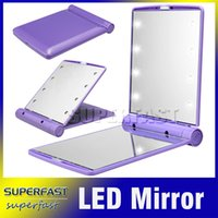 Wholesale Compact LED Mirror Foldable Cosmetic Mirror Lightweight Portable Make UP Mirror Flexible Stylish Mirror with Retail Package