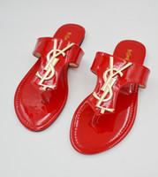 beach slippers women - Retail Sandals For Women Summer Style Brand Sandals Antiskid Beach Shoes Flat YSL Sandals Flip Slippers For Women