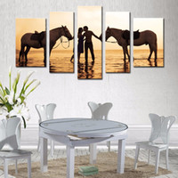 More Panel Oil Painting Fashion LK596 5 Panels A Couple Fall In Love At Sunset In The Sea With Horse Painting Print On Canvas Animal Picture Modern Canvas Unframed 2016 New