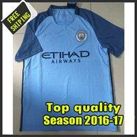 Wholesale New arrived Season Manchester City home blue Soccer Jerseys Uniform Football Jerseys Embroidery Logos