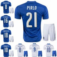 Cheap 2016 Italy sports kits soccer Jersey best quality 2016 PIRLO El Shaarawy Balotelli Verratti MARCHISIO national team football shirt+short