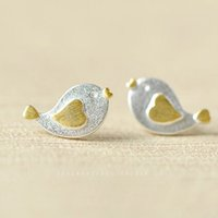 Wholesale Drawing Bird Heart shaped Sterling Silver Earrings Chick Stud Earring C00318 CAD