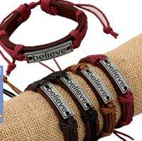 alternative america - 2017 new Europe and America believe Alloy Leather bracelet bracelet leather bracelet punk alternative jewelry bracelet Bracelets