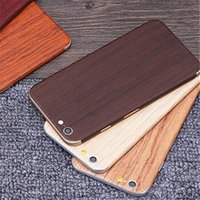 Wholesale 1set Luxury Wood Grain Design Full Body Sticker Case Cover For Apple Iphone S SE S Plus P HD Screen Protector Film Retail Package