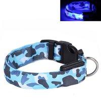 Wholesale Flashing LED Dog Collar For Pet Christmas Glowing Plain Nylon Luminous Dog Collar Decorative Camouflage Dog CollarDHL Free Shippin