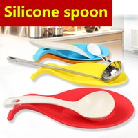 Wholesale Silicone Spoon Insulation Mat Silicone Heat Resistant Placemat Drink Glass Coaster Tray Spoon Pad Kitchen Accessories DHL