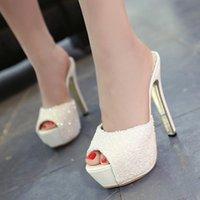 14cm Glitter paillettes roses blanches chaussures peep toe talons hauts pantoufle femme taille 34 à 39
